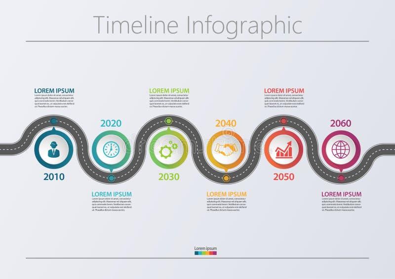 Iconos infographic de la cronología del mapa de camino del negocio diseñados para la plantilla abstracta del fondo stock de ilustración