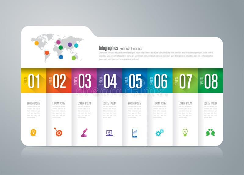 Iconos infographic del diseño y del negocio de la carpeta con 8 opciones ilustración del vector