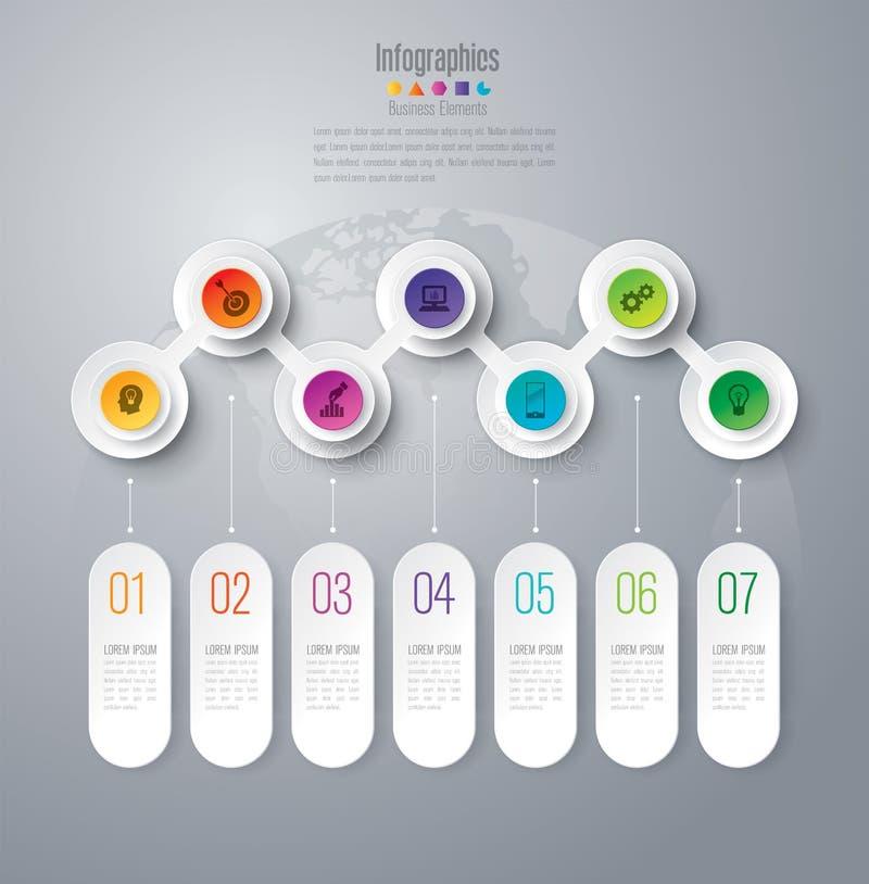 Iconos infographic del diseño y del negocio de la cronología con 7 opciones libre illustration