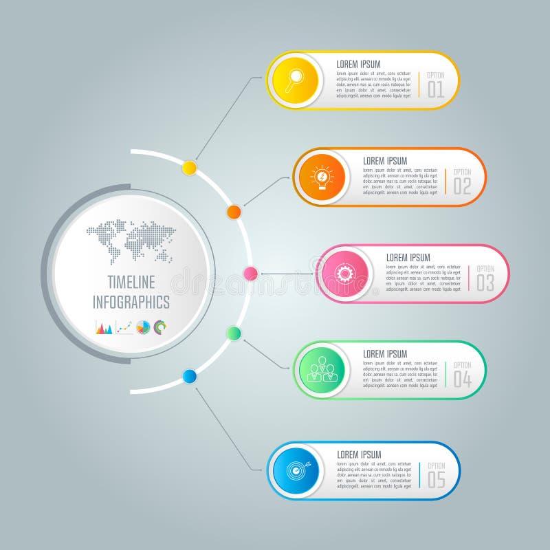 Iconos infographic del diseño y del márketing de negocio de la cronología para pre ilustración del vector