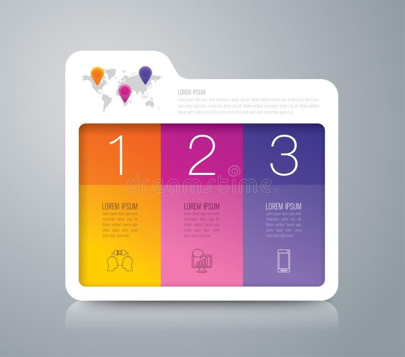 Iconos infographic del diseño y del negocio de la carpeta con 3 opciones ilustración del vector