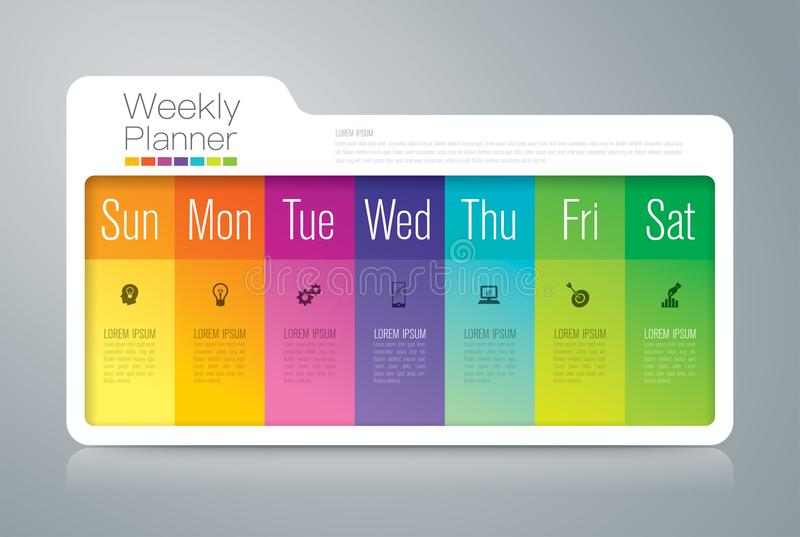 Iconos infographic del diseño y del negocio de la carpeta con 7 opciones ilustración del vector
