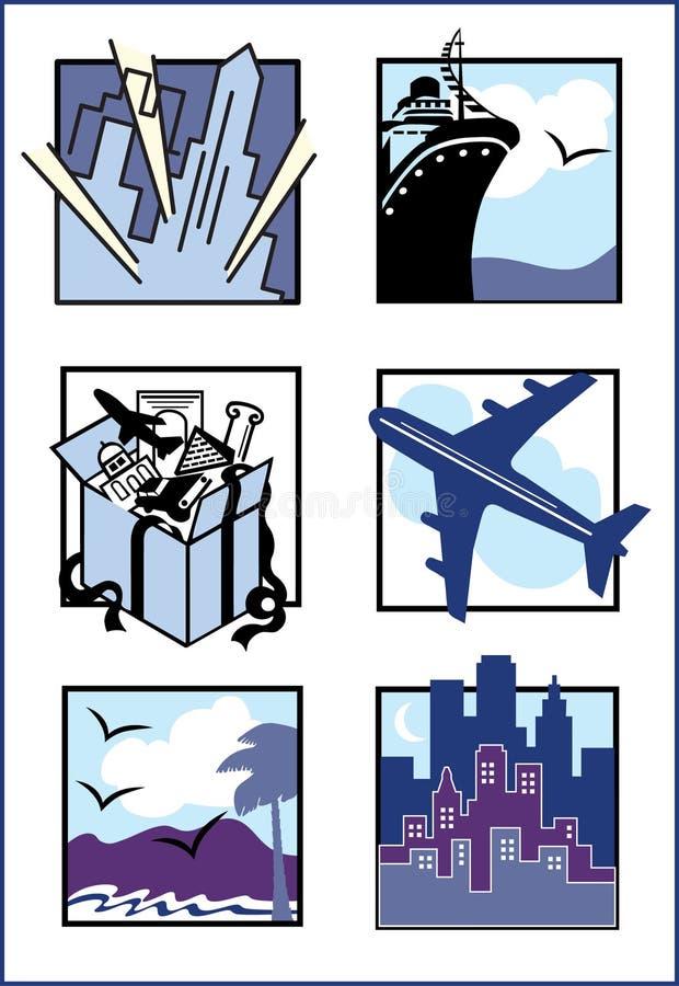 Iconos/insignias del recorrido stock de ilustración
