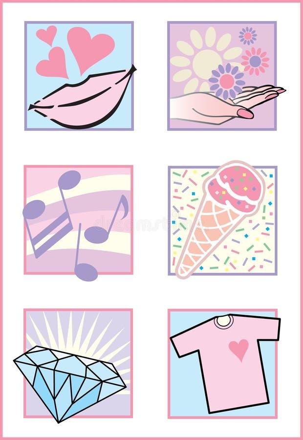 Iconos/insignias femeninos frescos ilustración del vector