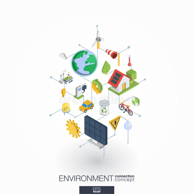 Iconos integrados ambientales del web 3d Concepto isométrico de la red de Digitaces stock de ilustración