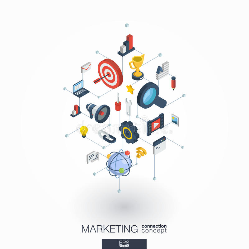 Iconos integrados de comercialización del web 3d Concepto isométrico de la red de Digitaces stock de ilustración