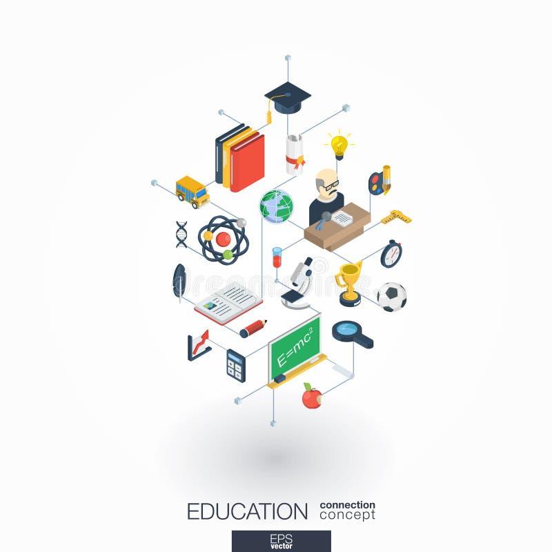 Iconos integrados del web 3d de la educación Concepto isométrico de la red de Digitaces stock de ilustración