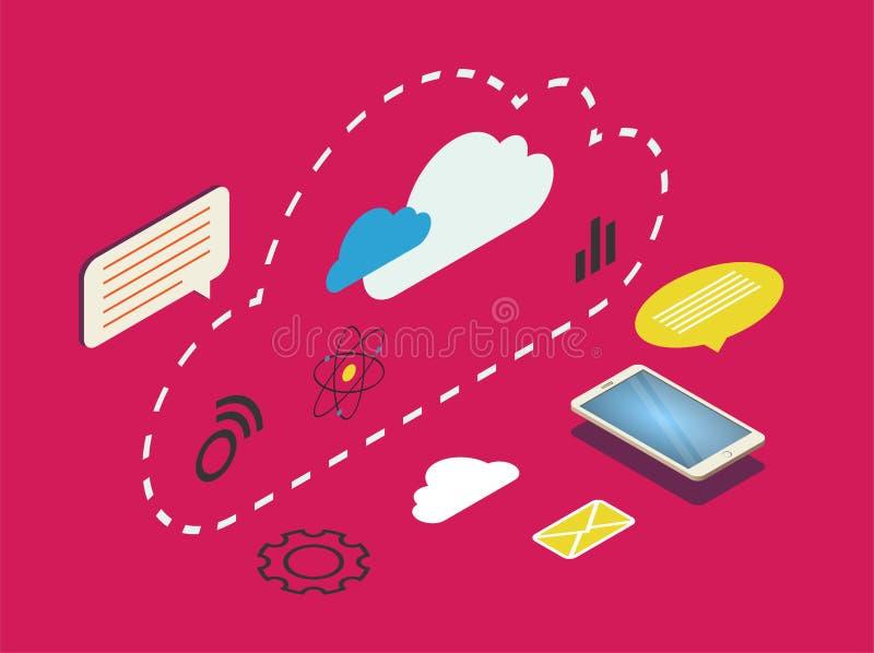 Iconos integrados del web 3d de la seguridad cibernética ilustración del vector