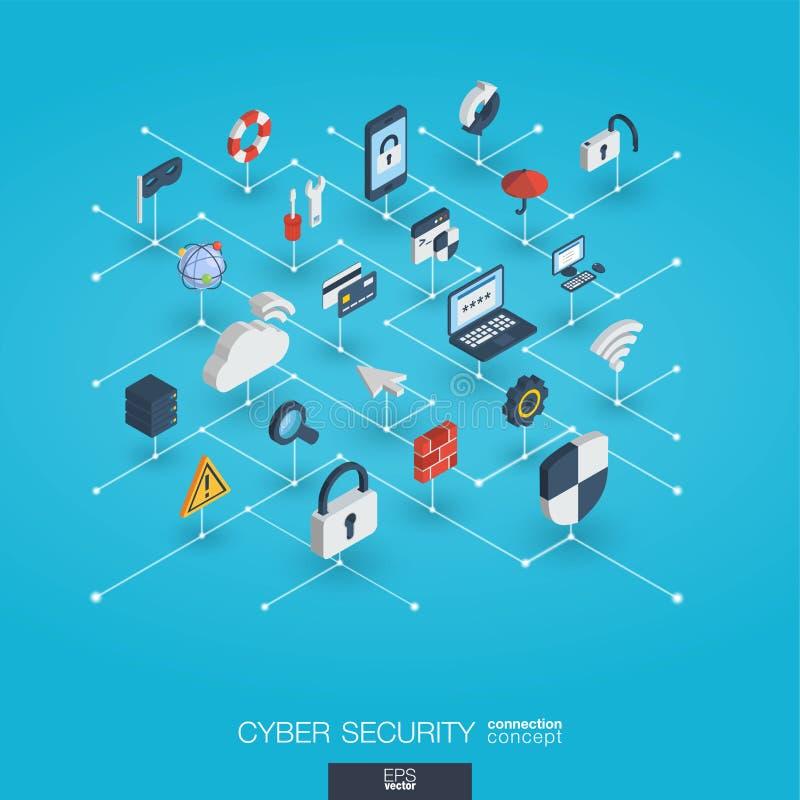 Iconos integrados del web 3d de la seguridad cibernética Concepto interactivo isométrico de la red de Digitaces ilustración del vector