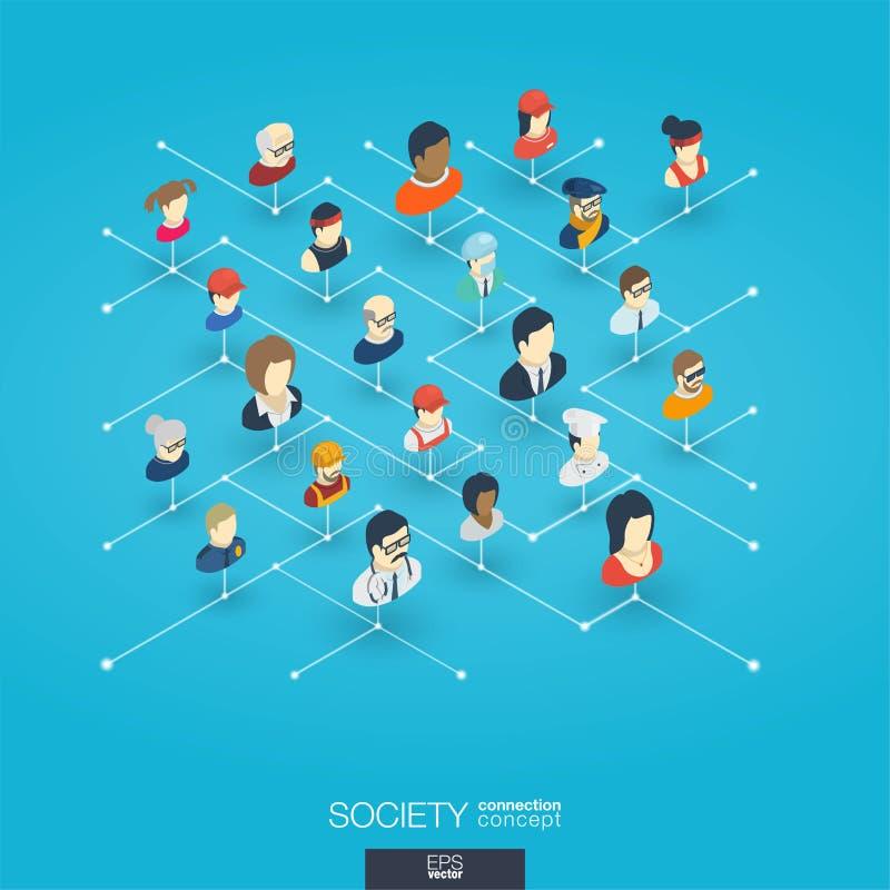 Iconos integrados del web 3d de la sociedad Concepto isométrico de la red de Digitaces stock de ilustración