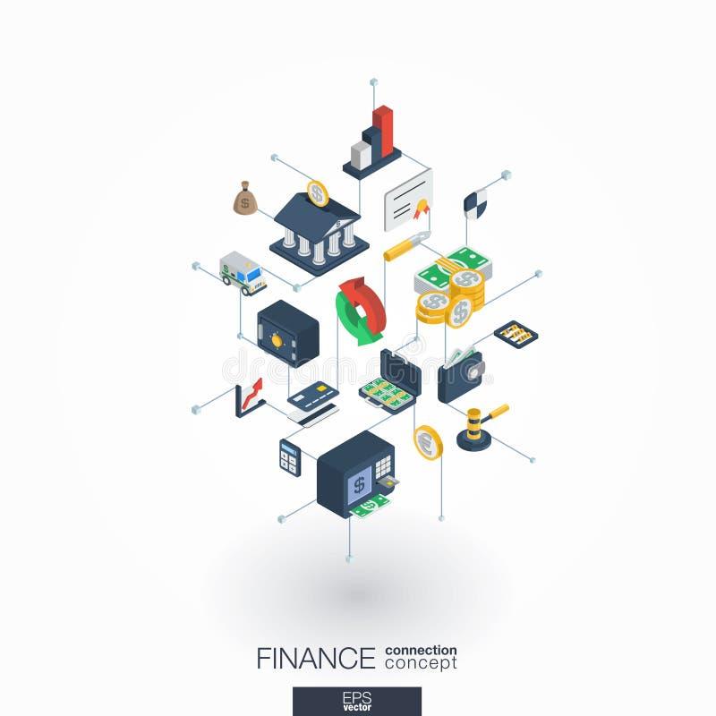 Iconos integrados del web 3d de las finanzas Concepto isométrico de la red de Digitaces stock de ilustración