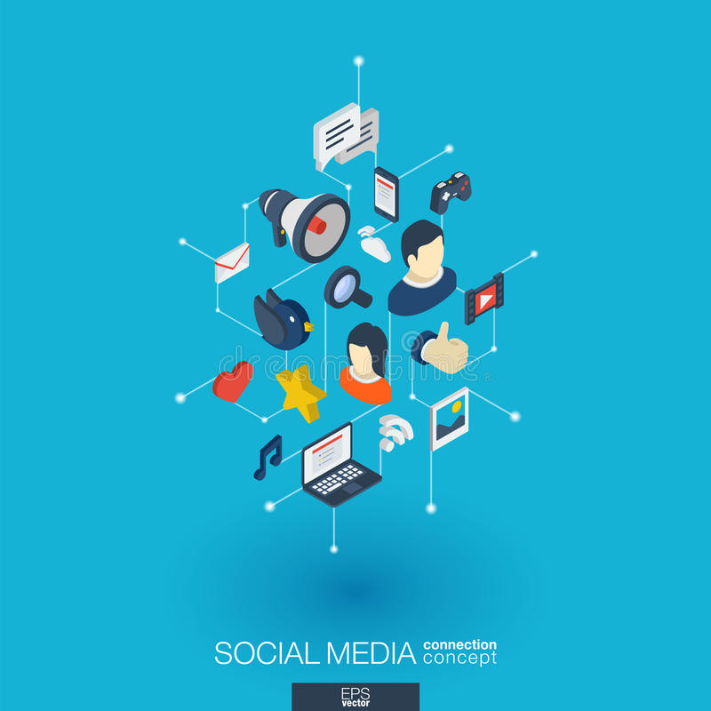 Iconos integrados del web 3d de los medios sociales Concepto isométrico de la red de Digitaces Puntos y línea conectados sistema  stock de ilustración
