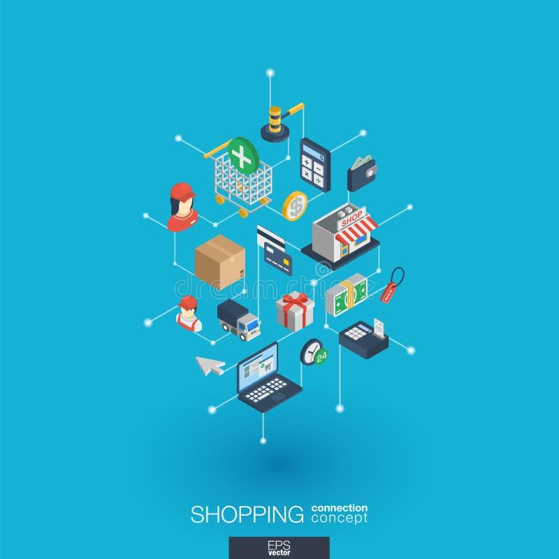 Iconos integrados del web que hacen compras 3d Concepto isométrico de la red de Digitaces libre illustration