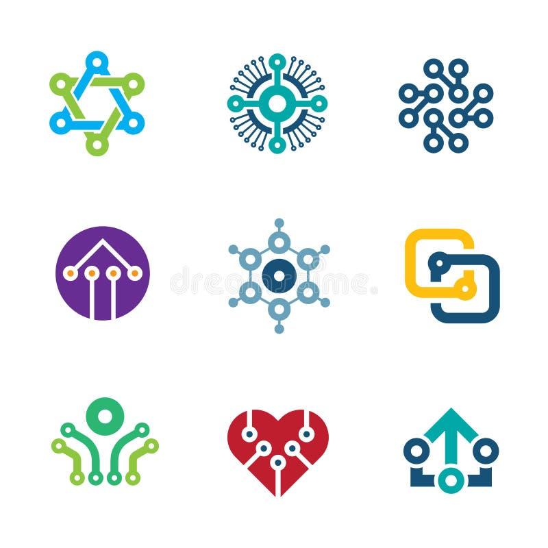 Iconos integrados por computador del logotipo de la ciencia de la nanotecnología del microprocesador de la tecnología futura de l stock de ilustración