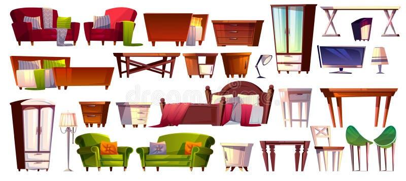 Iconos interiores aislados vector casero de los muebles stock de ilustración