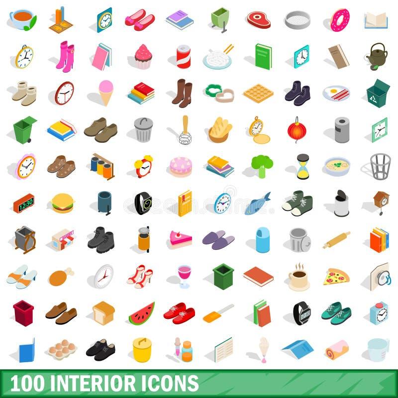 100 iconos interiores fijados, estilo isométrico 3d stock de ilustración