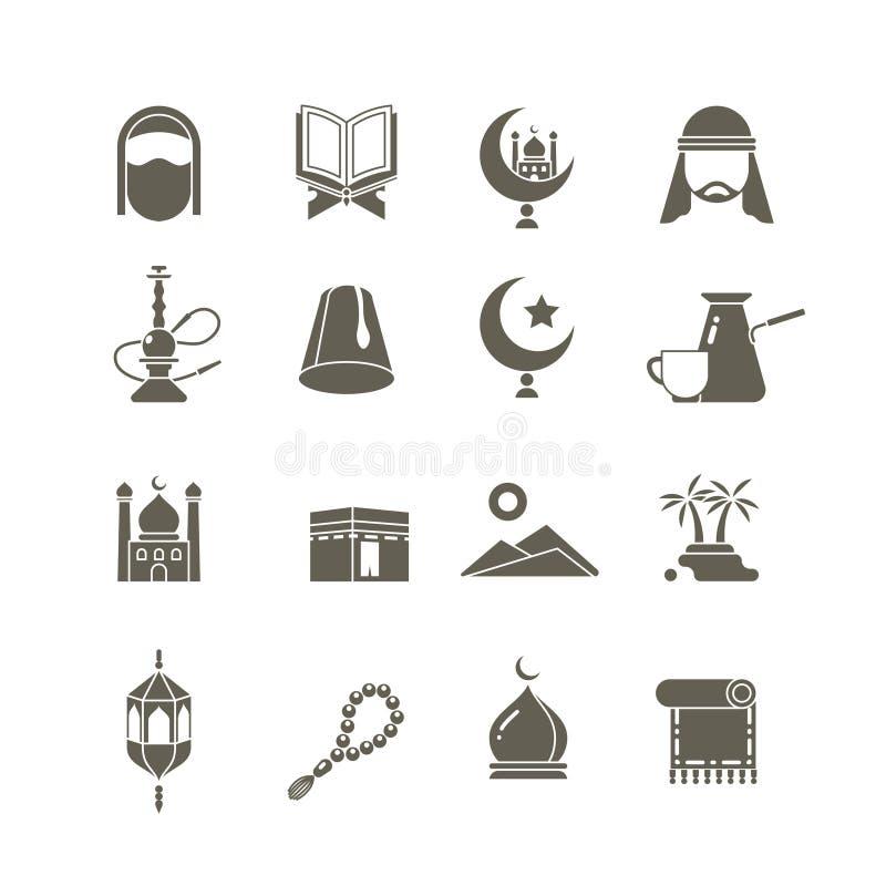 Iconos islámicos musulmanes del vector de la religión de Oriente Medio Pictogramas del kareem del Ramadán libre illustration