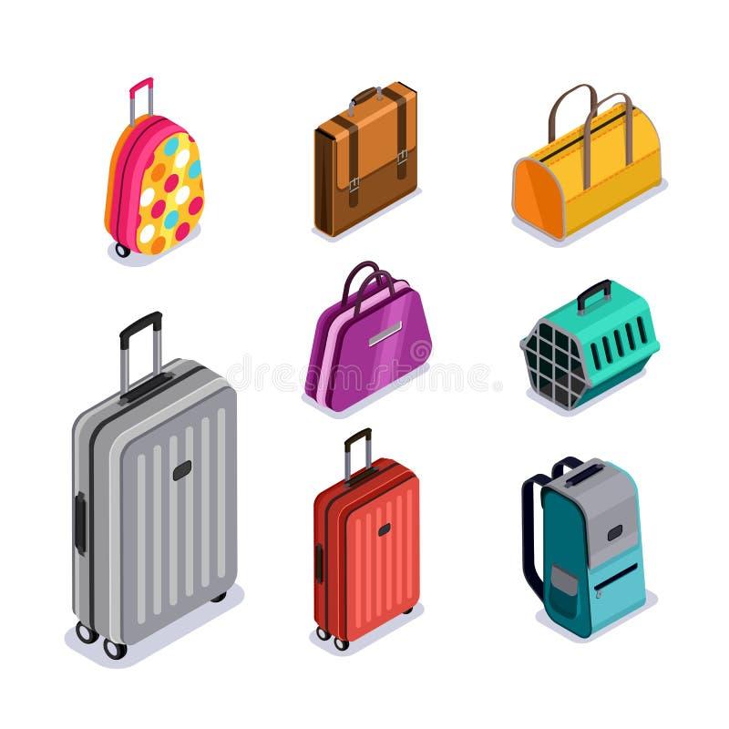 Iconos isométricos aislados equipaje del estilo 3d del vector Equipaje multicolor, maleta, bolsos, mochila, animales que llevan ilustración del vector
