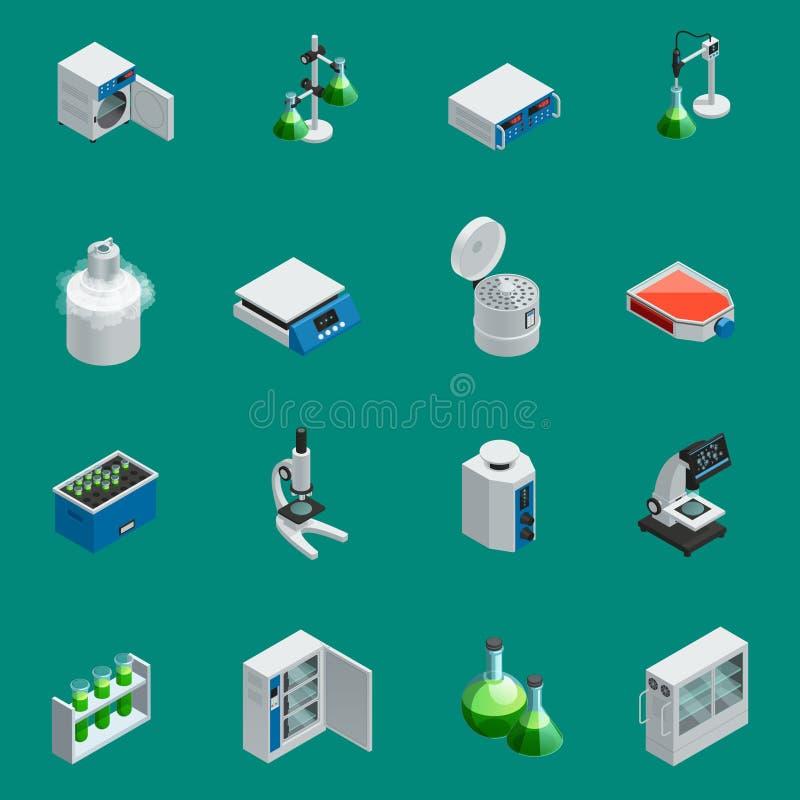 Iconos isométricos científicos del equipo de laboratorio stock de ilustración