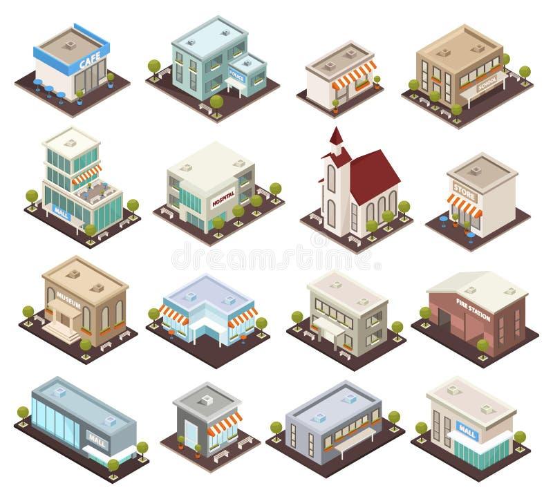 Iconos isométricos de la arquitectura urbana stock de ilustración