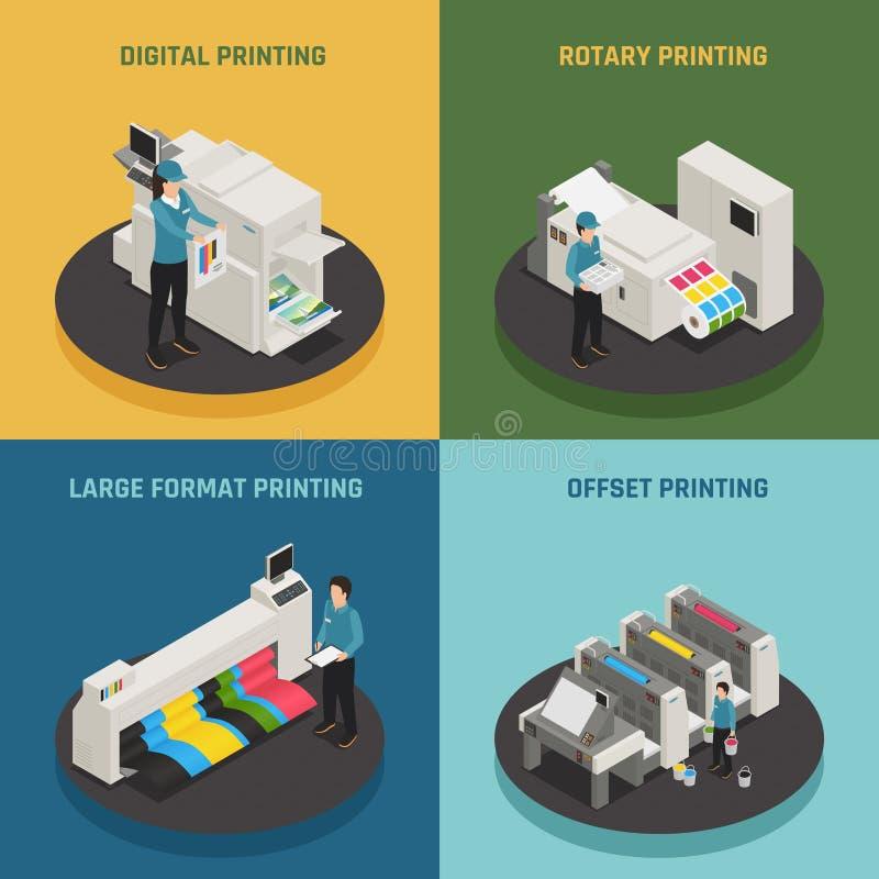 Iconos isométricos de la casa de impresión 4 ilustración del vector