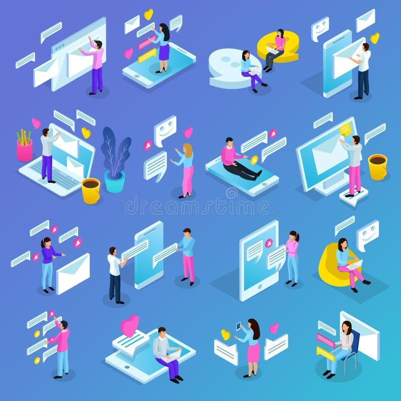 Iconos isométricos de la comunicación virtual libre illustration