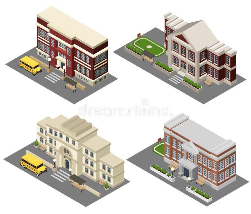 Iconos isométricos de la escuela fijados ilustración del vector
