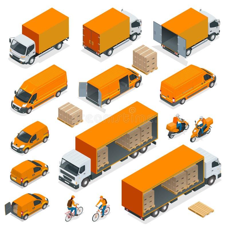 Iconos isométricos de la logística fijados de diverso transporte ilustración del vector