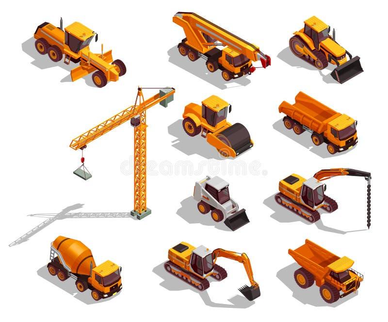 Iconos isométricos de la maquinaria de construcción libre illustration