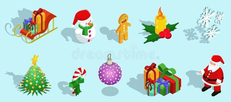 Iconos isométricos de la Navidad fijados libre illustration