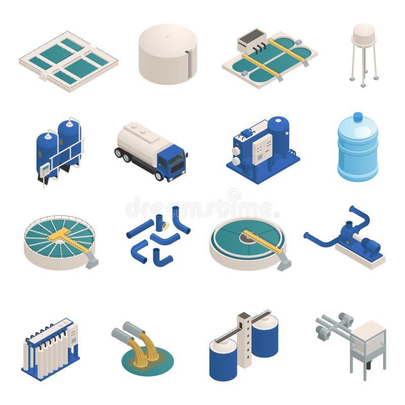 Iconos isométricos de la purificación de las aguas residuales fijados stock de ilustración