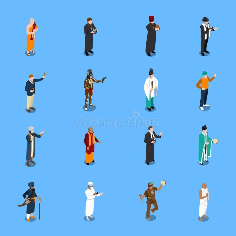 Iconos isométricos de la religión de la gente fijados stock de ilustración