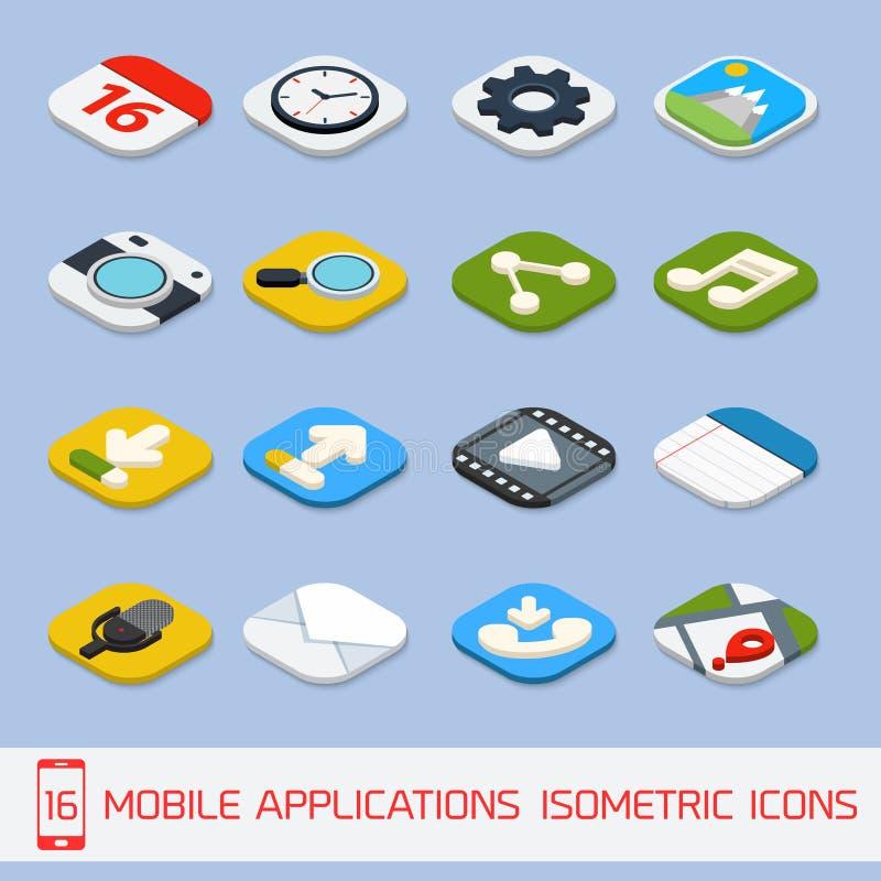 Iconos isométricos de las aplicaciones móviles libre illustration