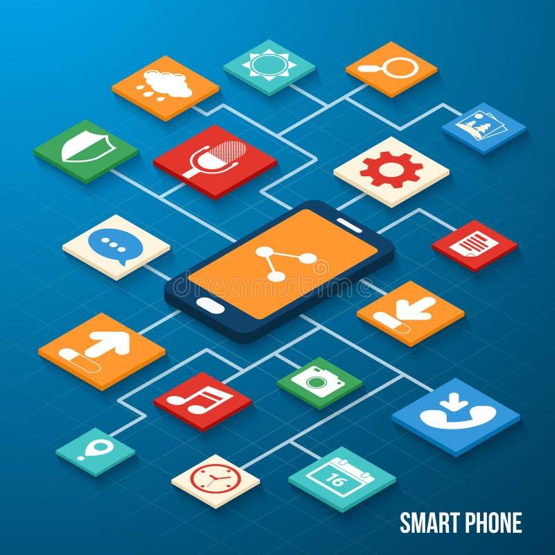 Iconos isométricos de las aplicaciones móviles ilustración del vector