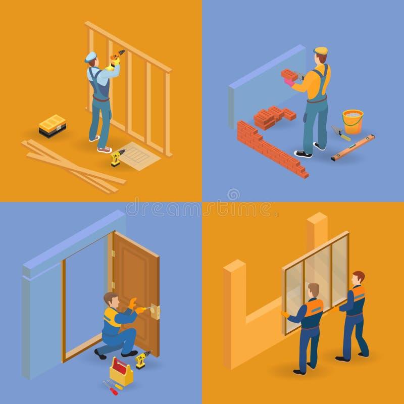 Iconos isométricos de las reparaciones del interior fijados Trabajadores, herramientas ilustración del vector