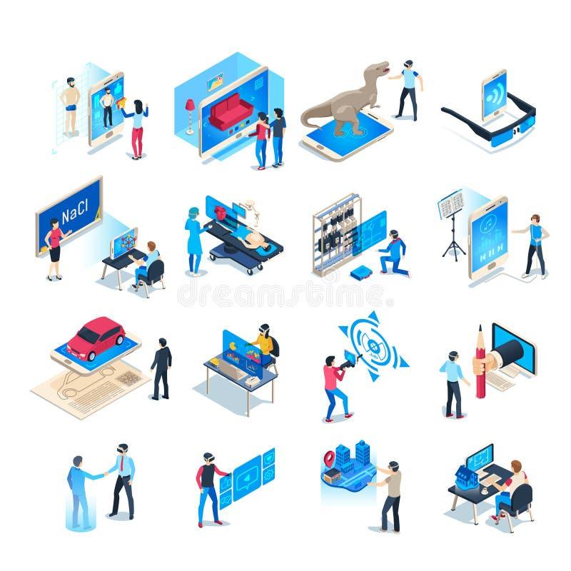 Iconos isométricos de las simulaciones de la realidad virtual Casco de la simulación por ordenador, sistema aumentado del ejemplo ilustración del vector