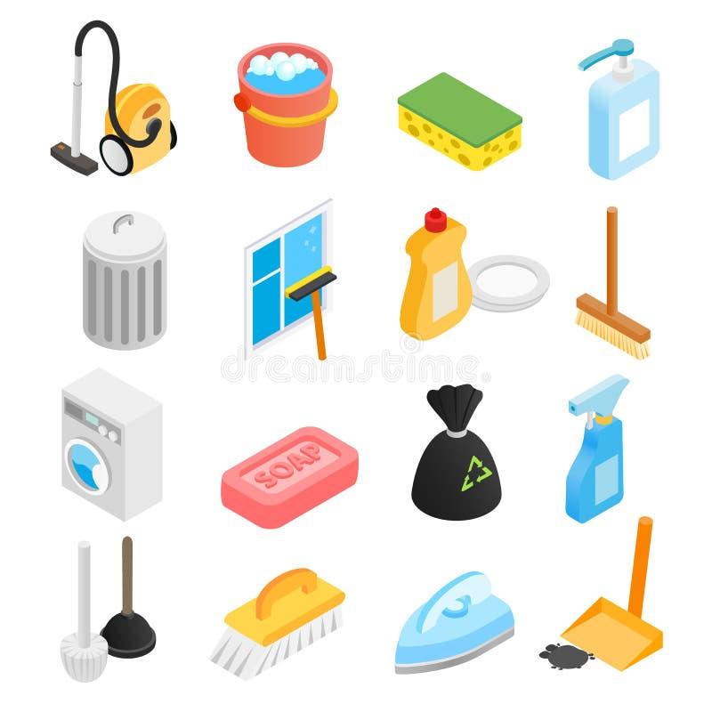 Iconos isométricos de limpieza 3d ilustración del vector