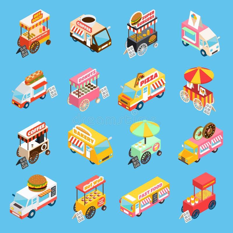 Iconos isométricos de los carros de la comida de la calle fijados libre illustration