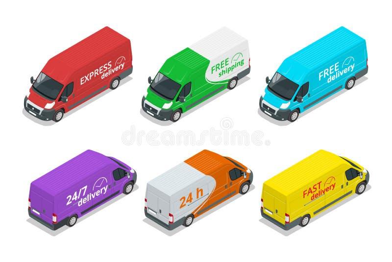 Iconos isométricos de los coches de entrega Elementos expresos, libres o rápidos del diseño del camión de reparto ilustración del vector