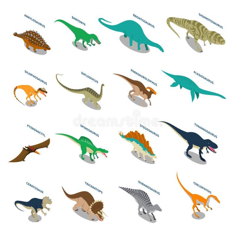 Iconos isométricos de los dinosaurios fijados stock de ilustración