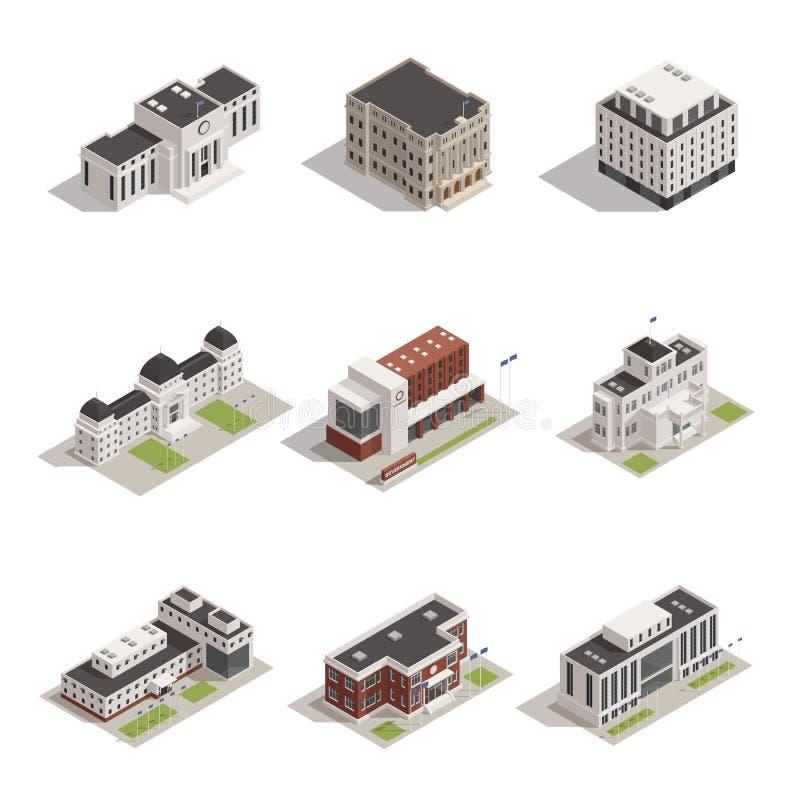 Iconos isométricos de los edificios del gobierno fijados libre illustration
