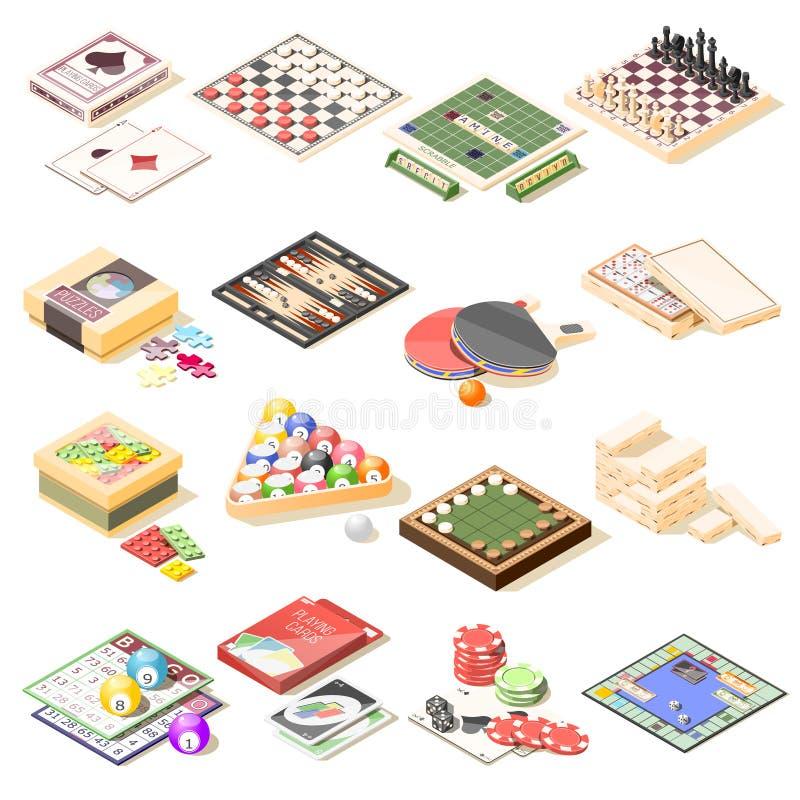Iconos isométricos de los juegos de mesa fijados libre illustration