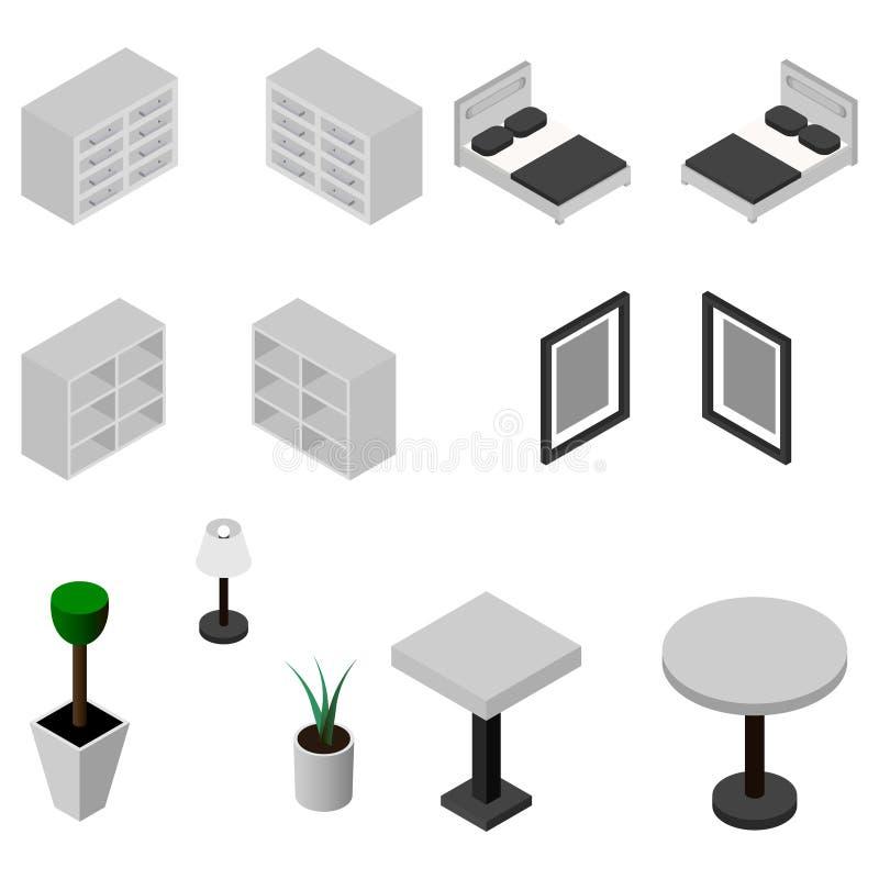 Iconos isométricos de los muebles Ilustración del vector Conjunto de dormitorio ejemplo del vector del infographics de la web del stock de ilustración