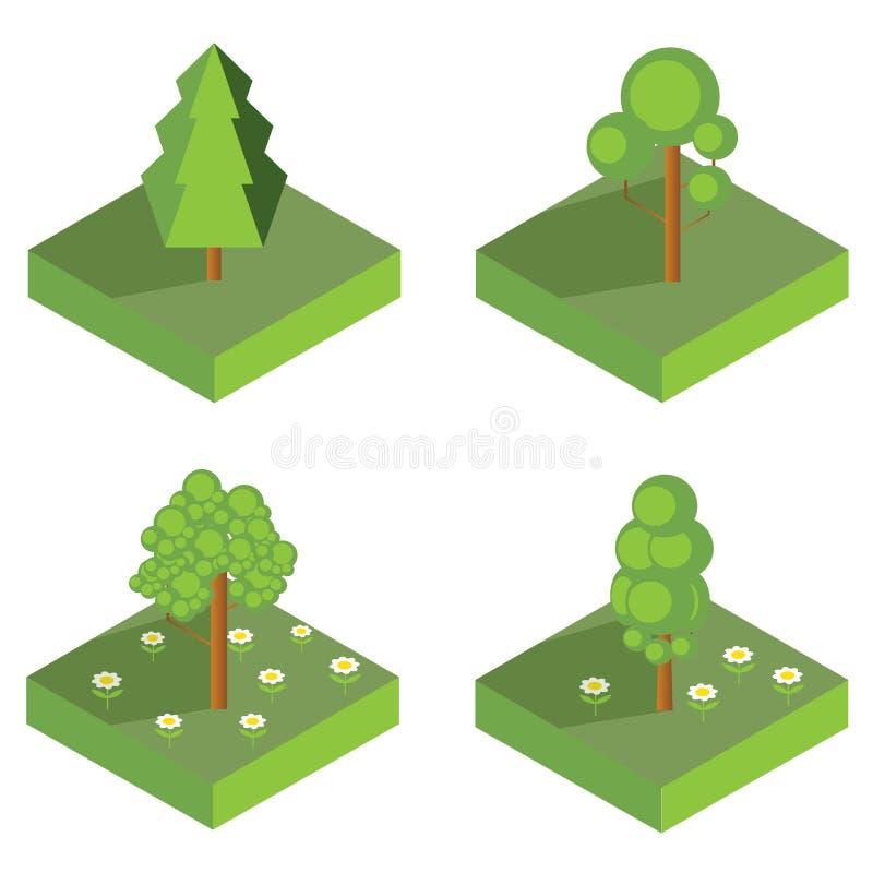 Iconos isométricos del árbol Ilustración del vector libre illustration