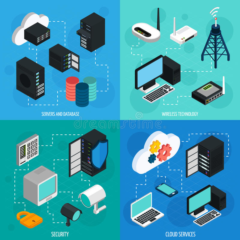 Iconos isométricos del centro de datos 2x2 fijados libre illustration