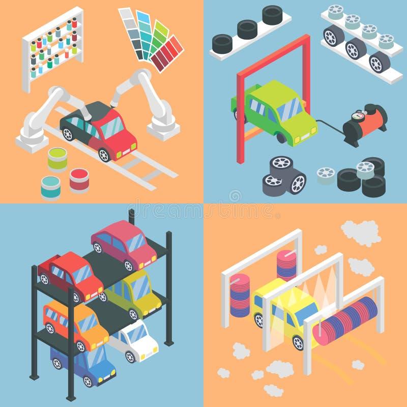 Iconos isométricos del centro de servicio del coche Elementos planos del diseño 3d del vector Pintura auto, reparación de la coli libre illustration