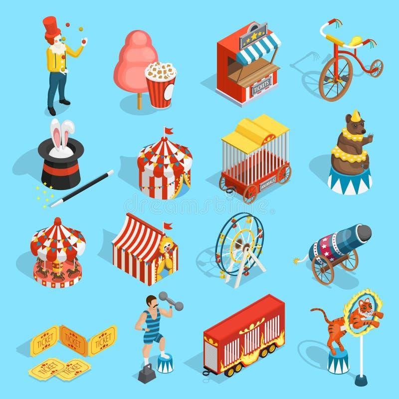 Iconos isométricos del circo del viaje fijados libre illustration
