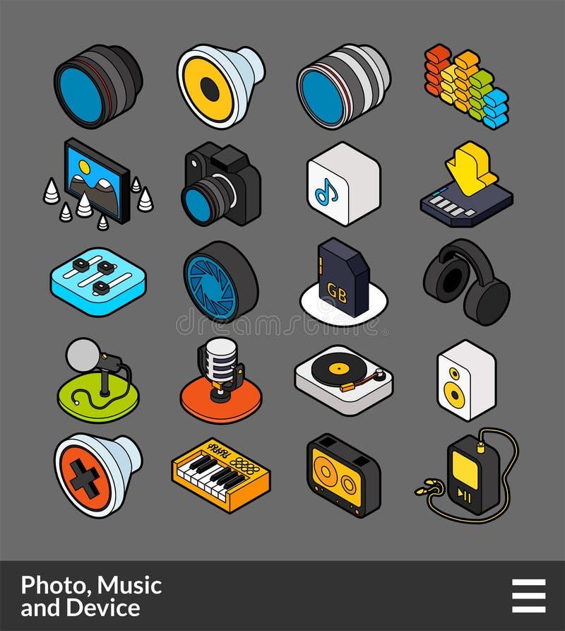 Iconos isométricos del color del esquema fijados libre illustration