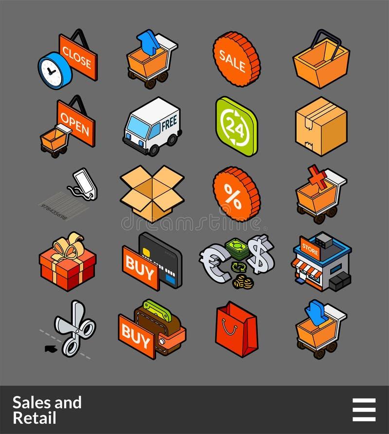 Iconos isométricos del color del esquema fijados stock de ilustración