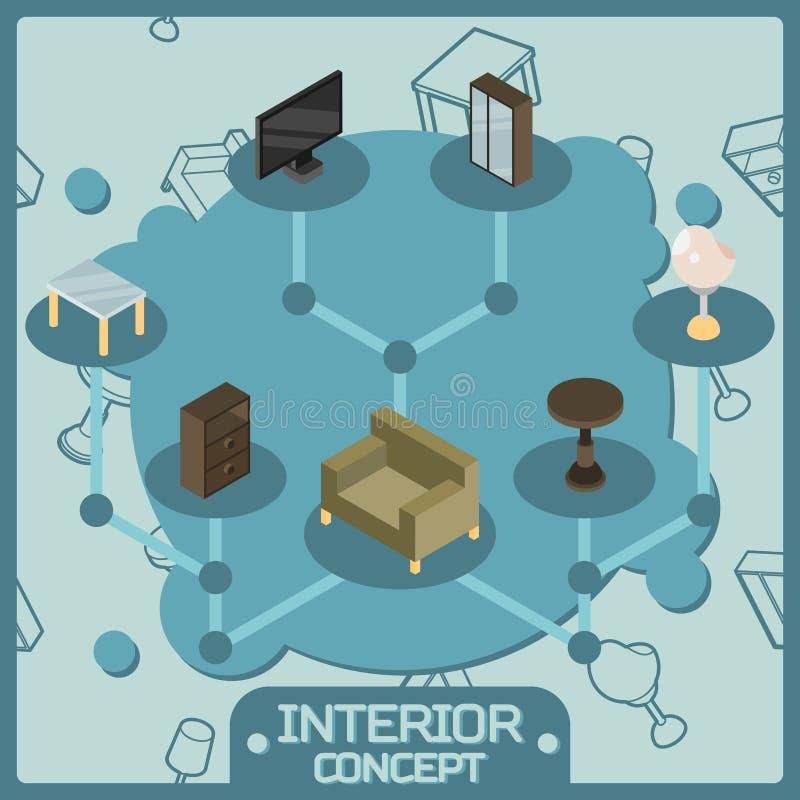Iconos isométricos del concepto del color interior libre illustration